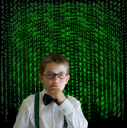 Boy, businessman, student or teacher with binary on blackboard background photo