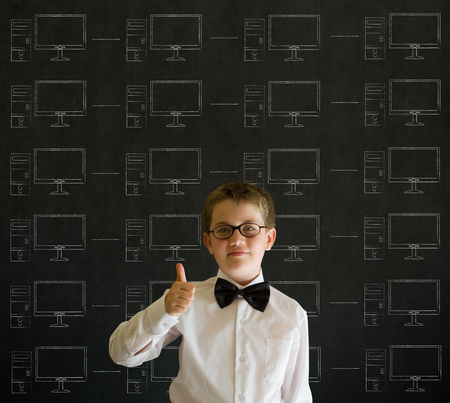 Thumbs up boy with chalk networks on blackboard background photo