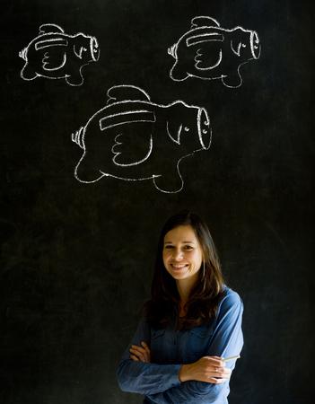 staff training: Businesswoman, student or teacher with chalk piggie banks  concept blackboard background