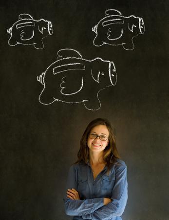 open brain: Businesswoman, student or teacher with chalk piggie banks  concept blackboard background