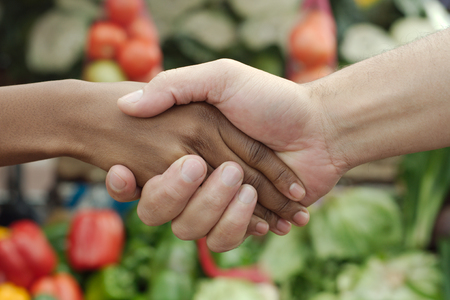 African or black American woman handshake traditional market deal in township photo