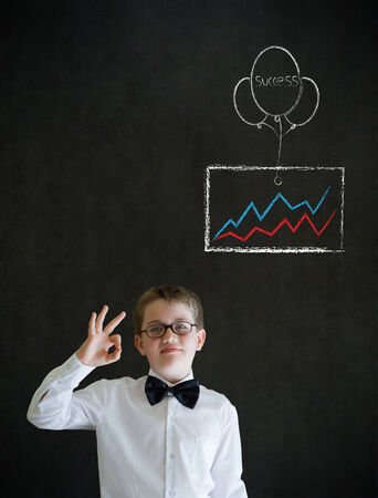 all ok: All ok boy business man with chalk success graph and balloon