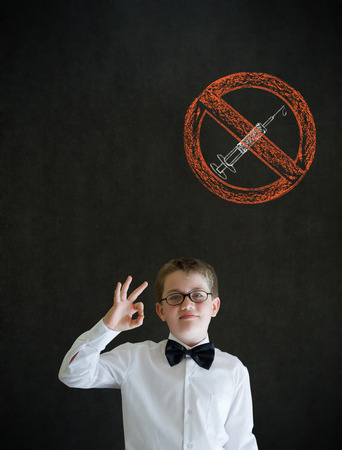 All ok boy business man with no drugs needle sign photo
