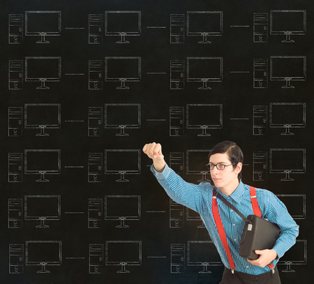Nerd geek businessman, student or teacher with chalk computer network on blackboard background photo