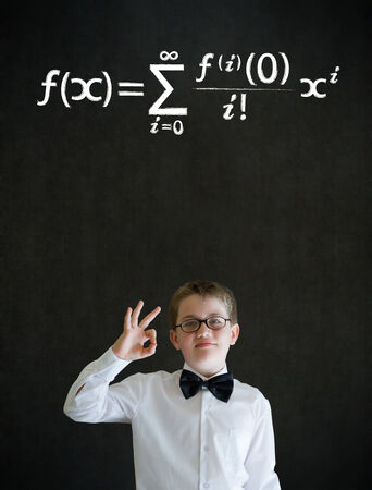 all ok: All ok or okay sign boy dressed up as business man with maths equation on blackboard background