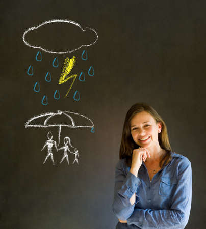 Woman Teacher thinking about protecting family from natural disaster on blackboard background photo