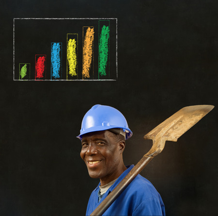 African American black man worker with chalk bar graph on a blackboard background photo