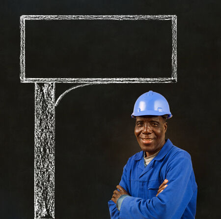 African American black man worker with a chalk road advertising sign photo
