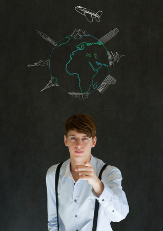 Business travel agent chalk airplane world globe with famous landmarks on blackboard background photo