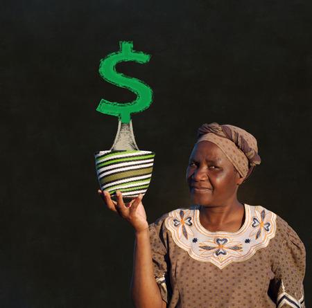 South African Zulu woman basket sales woman blackboard money tree Banco de Imagens