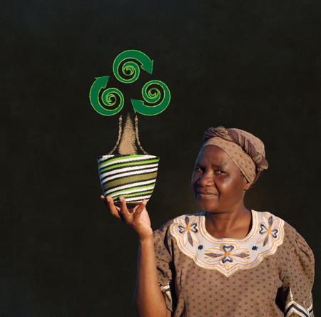 businessowman: South African Zulu woman basket sales woman blackboard recycle tree