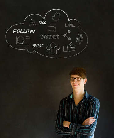 Businessman, student or teacher social media chalk concept blackboard
