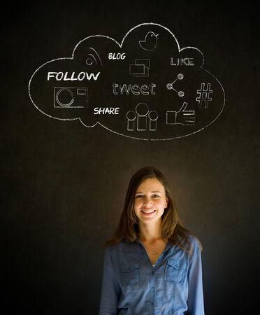 Businesswoman, student or teacher social media chalk concept blackboard  photo