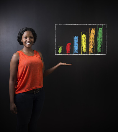 academic achievement: South African or African American woman teacher or student against a dark blackboard background with chalk bar graph or chart