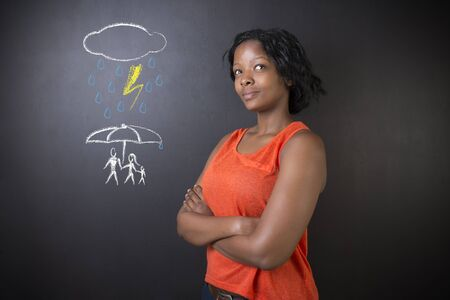life insurance: South African or African American woman teacher or student thinking about protecting family from natural disaster on blackboard background
