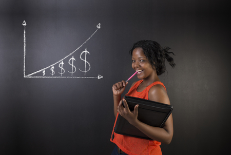 african student: South African or African American woman teacher or student against blackboard background with chalk money graph