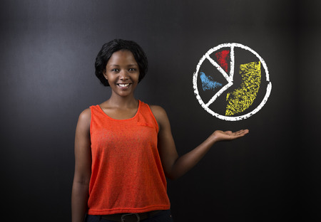 african student: South African or African American woman teacher or student with chalk pie chart on blackboard background