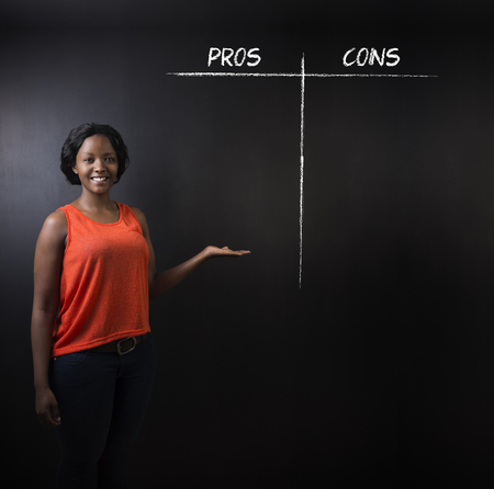 cons: South African or African American woman teacher or student thinking pros and cons decision list chalk concept blackboard background