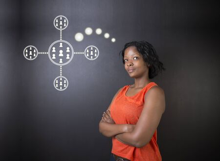 american media: South African or African American woman teacher or student thinking about computer technology social network or networking