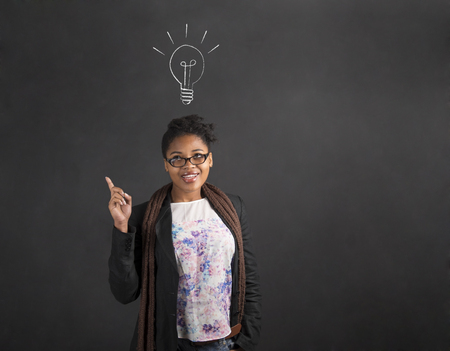 answer: South African or African American black woman teacher or student with a good idea or answer lighbulb standing against a chalk blackboard background inside