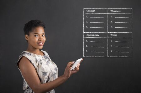 swot analysis: South African or African American black woman teacher or student holding a tablet with a SWOT analysis standing against a chalk blackboard background inside Stock Photo