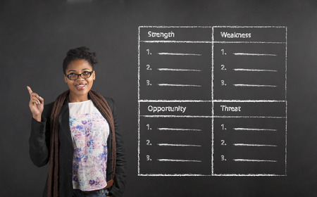 woman  glasses: South African or African American black woman teacher or student with a good idea about a SWOT analysis standing against a chalk blackboard background inside Stock Photo