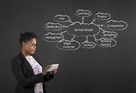 business model: South African or African American black woman teacher or student holding a tablet standing against a chalk blackboard background with a business model diagram inside Stockfoto