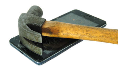 Hammer perched on a smartphone with the broken display