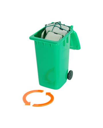 Recyling Processors - garbage container full of processors and recycling arrows on the front - unmeasured