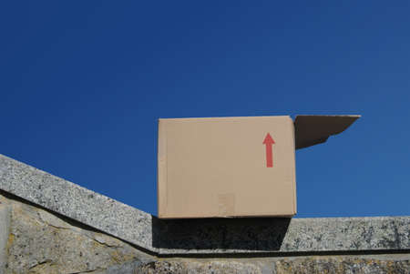 Open cardboard box perched on a wall with blue sky in the background