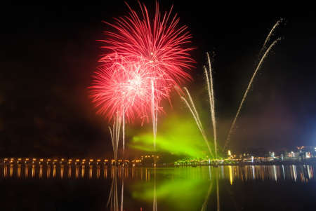 Fireworks with light effects in red and green tones