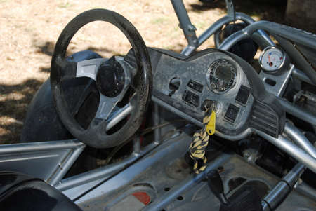Buggy - Dashboard of an off-road buggy stopped after a mountain cross Foto de archivo