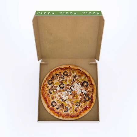 melted cheese: pizza in open box Stock Photo