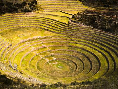 インカ古代円形テラス ウツボ、ペルー (農業駅) 写真素材