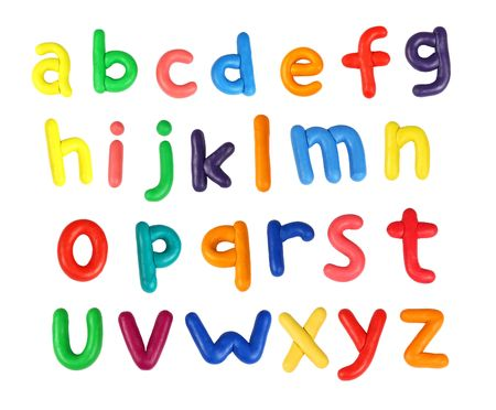 alphabetical order: Colorful alphabet made from plasticine (isolated on white).  All letters are in lower case. Use it to make your own message Stock Photo