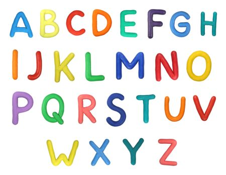 Colorful Alphabet made from plasticine (isolated on white). Use it to make your own message.