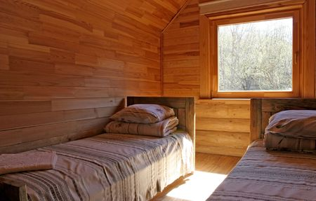 Wooden guest house interior
