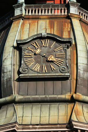 st peter s basilica: Tower clock of the famous St. Peter Church(Old town, Riga, Latvia)