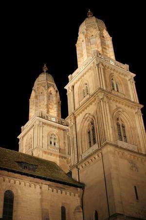 Grossmunster Cathedral at night (Zurich, Switzerland)