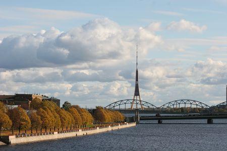 Riverbank of the Daugava (Riga, Latvia) Stock Photo