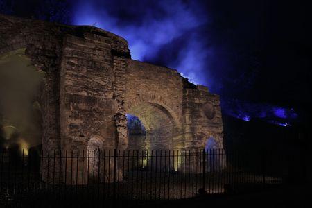 night shot of Bedlam Furnaces Ironbridge Shropshire  Stock Photo