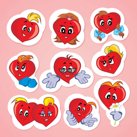 Characters in the shape of a heart with emotions Vector