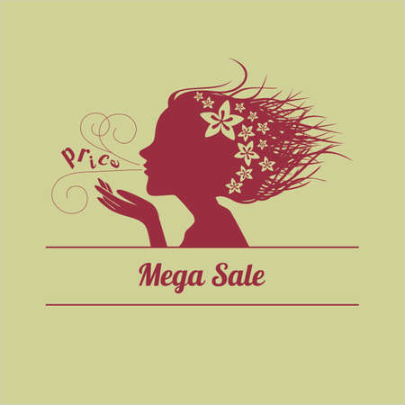topical: Female image blows word price  Sale  Vector illustration