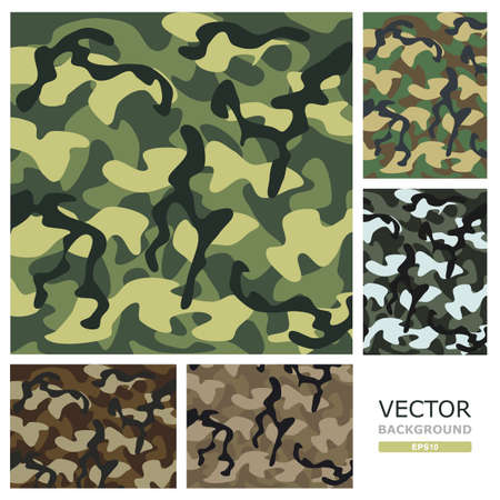 Picture of the five patterns of camouflage in vector design  Vector