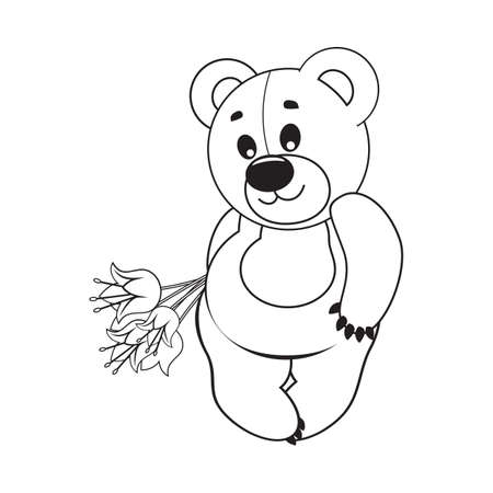 Teddy bear with a bouquet of flowers Vector