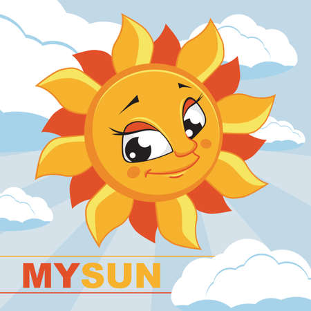 Card with the image of the sun illustration. Vector