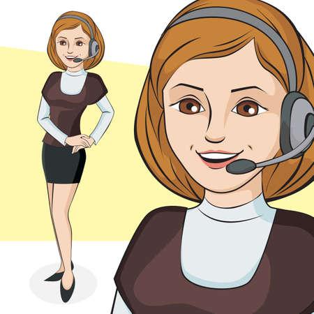 女性実業家: 美しいビジネスの女性の文字を話しています。ベクトル イラスト。