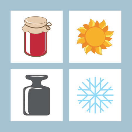 gram: Icons bank sun weight snowflake. Vector illustration. Illustration
