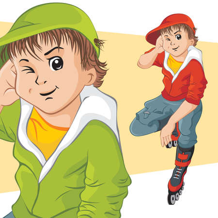 crouched: Cheerful teenager on roller skates. Vector illustration.