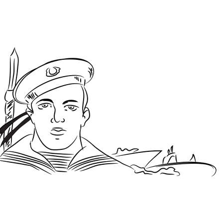 turret: Marine armed sily.Vektornaya illustration. black and white drawing.Flot marines